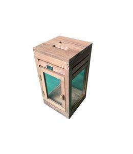 Guiño Linterna Small square teak lantern 21x21xH41.5cm