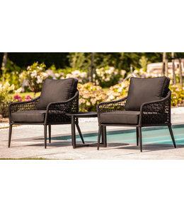 Queens 3-Delige lounge stoelen set zwart