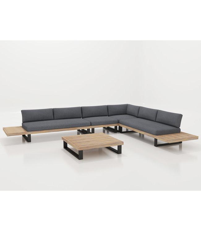 Guiño Calma luxe platform lounge set in aluminium met teakhout