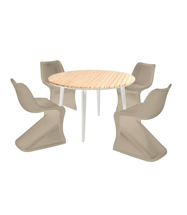 Beach7 5 -Delige tuinset Fontelina-Bloom Wit-Taupe