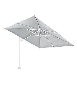 Kos zweef parasol Wit- Marmer grijs 3 x 3 meter met 90 kg voet en grote wielen