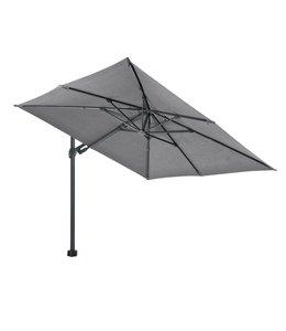 Beach7 Kos zweef parasol  Antraciet - Steen grijs 3 x 3 meter met 90 kg voet en grote wielen