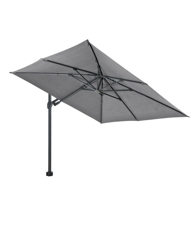 Beach7 Kos zweef parasol  Antraciet 3 x 3 meter met 90 kg voet en grote wielen