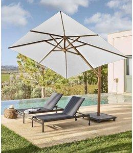 Jardinico Jardinico Antego parasol 300x300cm  Aluminium houtkleur frame - Naturel doek