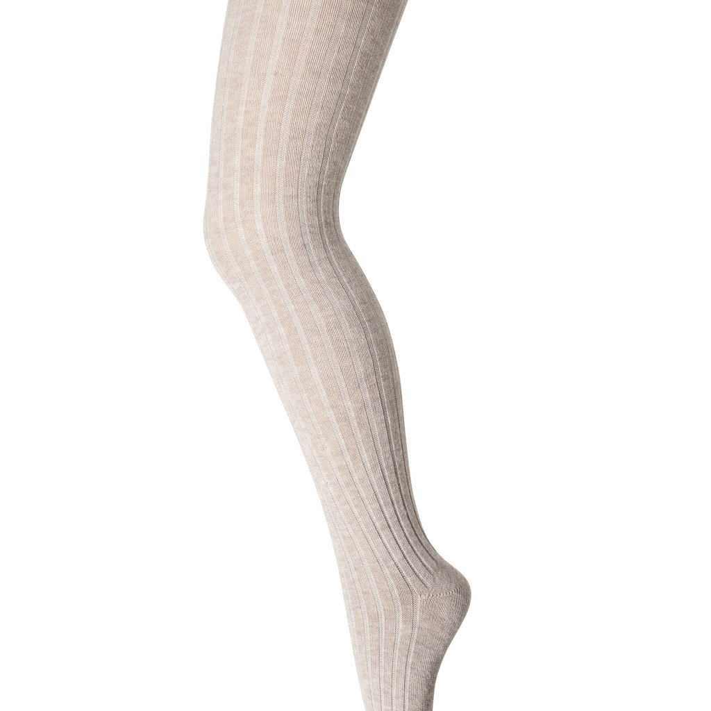 MP DENMARK MP TIGHTS COTTON RIB LIGHT BROWN