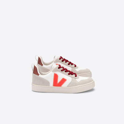 VEJA VEJA V10 LACE BONTON WHITE ORANGE FLUO MARSALA