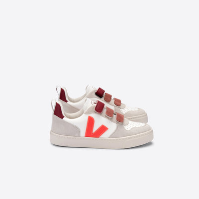 VEJA VEJA V10 BONTON JUNIOR VELCRO WHITE ORANGE FLUO