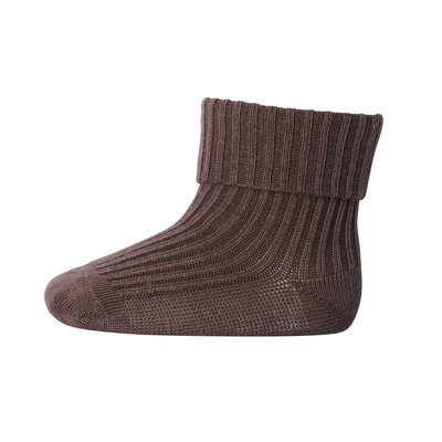 MP DENMARK MP COTTON RIB BABY SOCKS BROWN SIEN