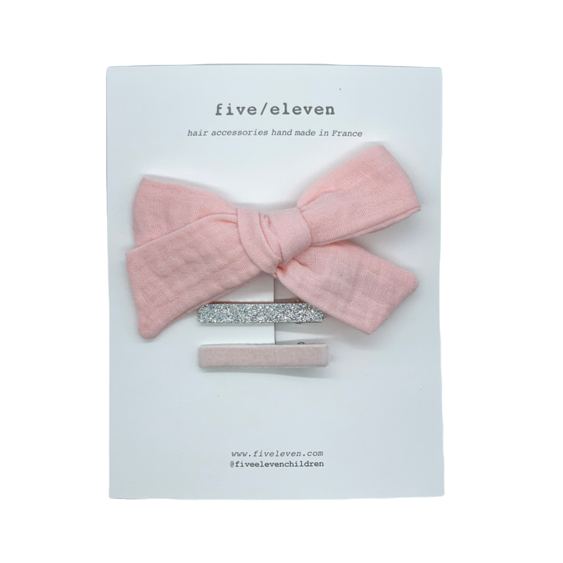 FIVE-ELEVEN FIVE-ELEVEN 3 CLIPS FOREVER BOW LIGHT ROSE