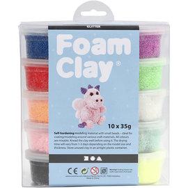Foam Clay - Assortiment, 10x35 gr, kleuren assorti glitter