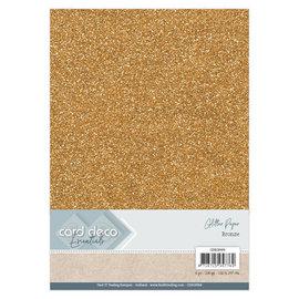 Card Deco Essentials Glitter Papier Bronze, 6 st.