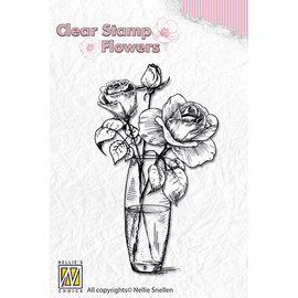 Clear stamp flowers roses