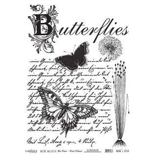 Cadence rijstpapier nr.010 Butterfly - Tekst - Zwart