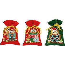 Vervaco Telpakket zakje Kerstuiltjes aida set van 3