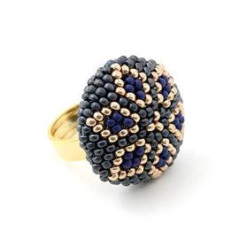 Kit ring Zenith hematite-bleu-or