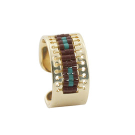 Kit ring Selena dore-marron-vert
