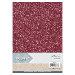 Card Deco Essentials Glitter Papier Bordeaux