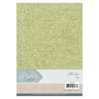 Card Deco Essentials Glitter Papier Gold, 6 st.