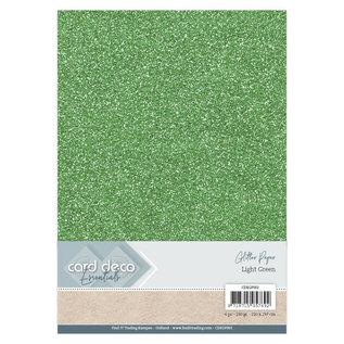 Card Deco Essentials Glitter Papier Light Green