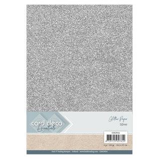 Card Deco Essentials Glitter Papier Silver, 6 st.