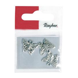 Rayher Metalen hangertje: vlinder, 16mm, oud zilver, 1mm, 3st.