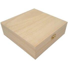 Houten kist vierkant 20,9x20,9x7cm