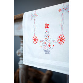 Tafelloper voorgedrukt kruisjessteek en borduren kerstbomen in rood/grijs