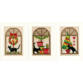 Vervaco TP wenskaart Kerstsfeer aida set van 3