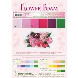 Flower Foam set 5, 6 vellen A4, rood - roze
