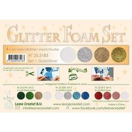 Glitter Foam Set A4, 4 vellen, Gold/Silver