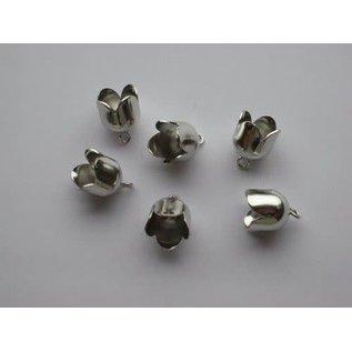 Brass Bell Cap-eindkap met oog 10mm platinum 6 ST