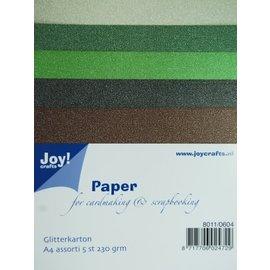 Glitter karton - Multi pack, 5st. 230gr.