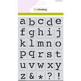 CraftEmotions stencil - alfabet kleine letters Courier A5 - H=21mm