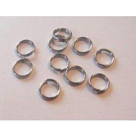 Dubbel splitring zilverkleur 6 mm 10 ST