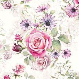 Servetten - Rozen roze en lila - 5st.