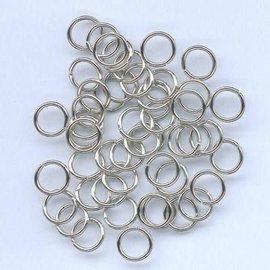 Split ring gehard zilverkleur 8 mm 50 ST