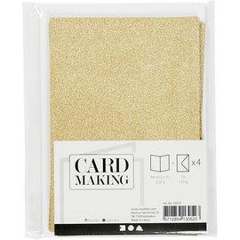 Kaarten met enveloppen, Goud glitter, 4st.