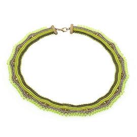 Kit collier Loukkos vert lime-bronze