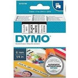 Dymo 43610 D1-Lint 6mm - 7m Zwart/Transparant
