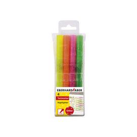 Markeerstift Glitter etui 4st. Geel-roze-oranje-groen