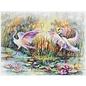 Bedrukt stramien Flamingo's 37x49cm