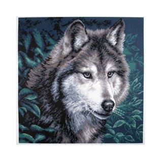 Bedrukt stramien Wolf 34x34cm