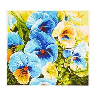 Bedrukt stramien Blue pansies 34x34cm