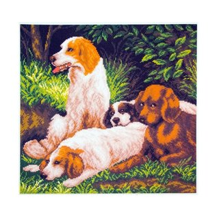 Bedrukt stramien Dogs on a rest 34x34cm