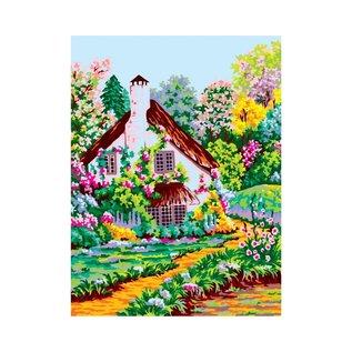 Bedrukt stramien Huis in de lente 30x40cm