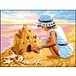 Bedrukt stramien Meisje met zandkasteel 40x30cm