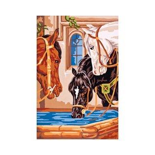 Bedukt stramien Drinkende paarden 30x22cm