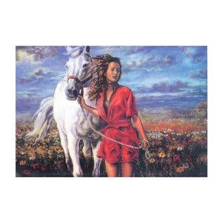 Bedrukt stramien 50x40cm Vrouw met paard