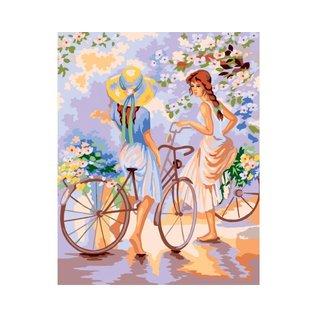 Bedrukt stramien 40x50cm Meisjes met fiets