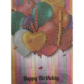 Diamond Painting kaart C6 Happy Birthday hartjesballonnen